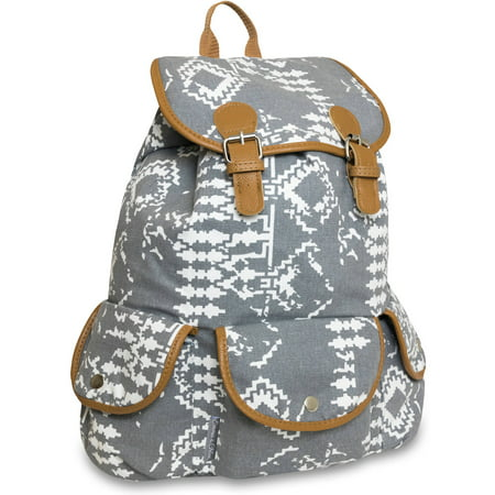 17 Inch Cotton Canvas Triple Pocket Double Buckle Flap Backpack