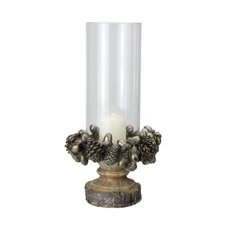 "11"" Rustic Acorn and Pinecone Tree Pillar Candle Holder with Glass Case"
