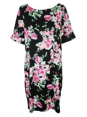 96ab36c6214 Product Image Karen Scott Plus Size Black Short-Sleeve Floral Boat Neck  Shift Dress 1X