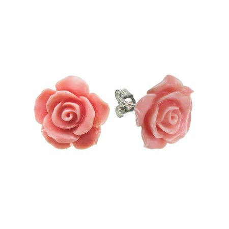 Sterling Silver Simulated Pink Coral Rose Earrings Stud Post 15mm