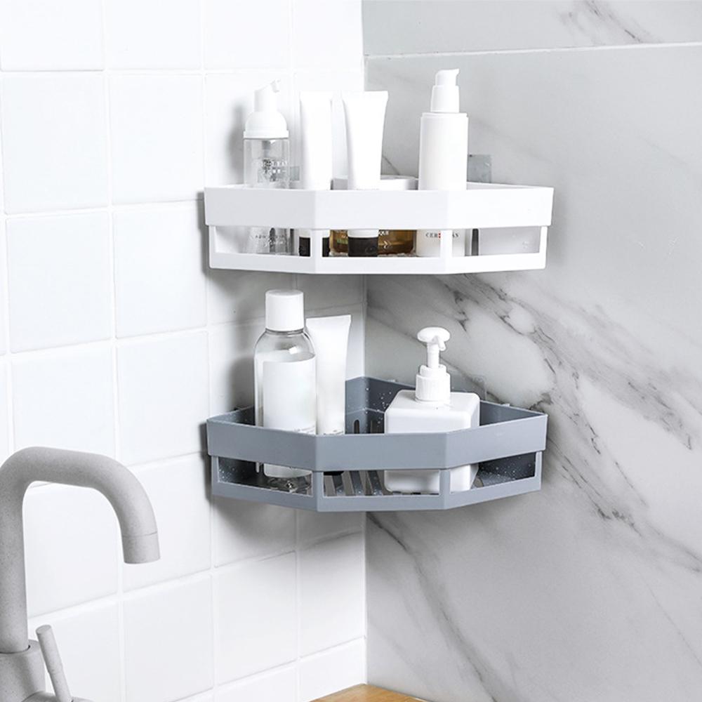 Bathroom Corner Shelf Adhesive Storage Rack Holder Shampoo Shower Basket