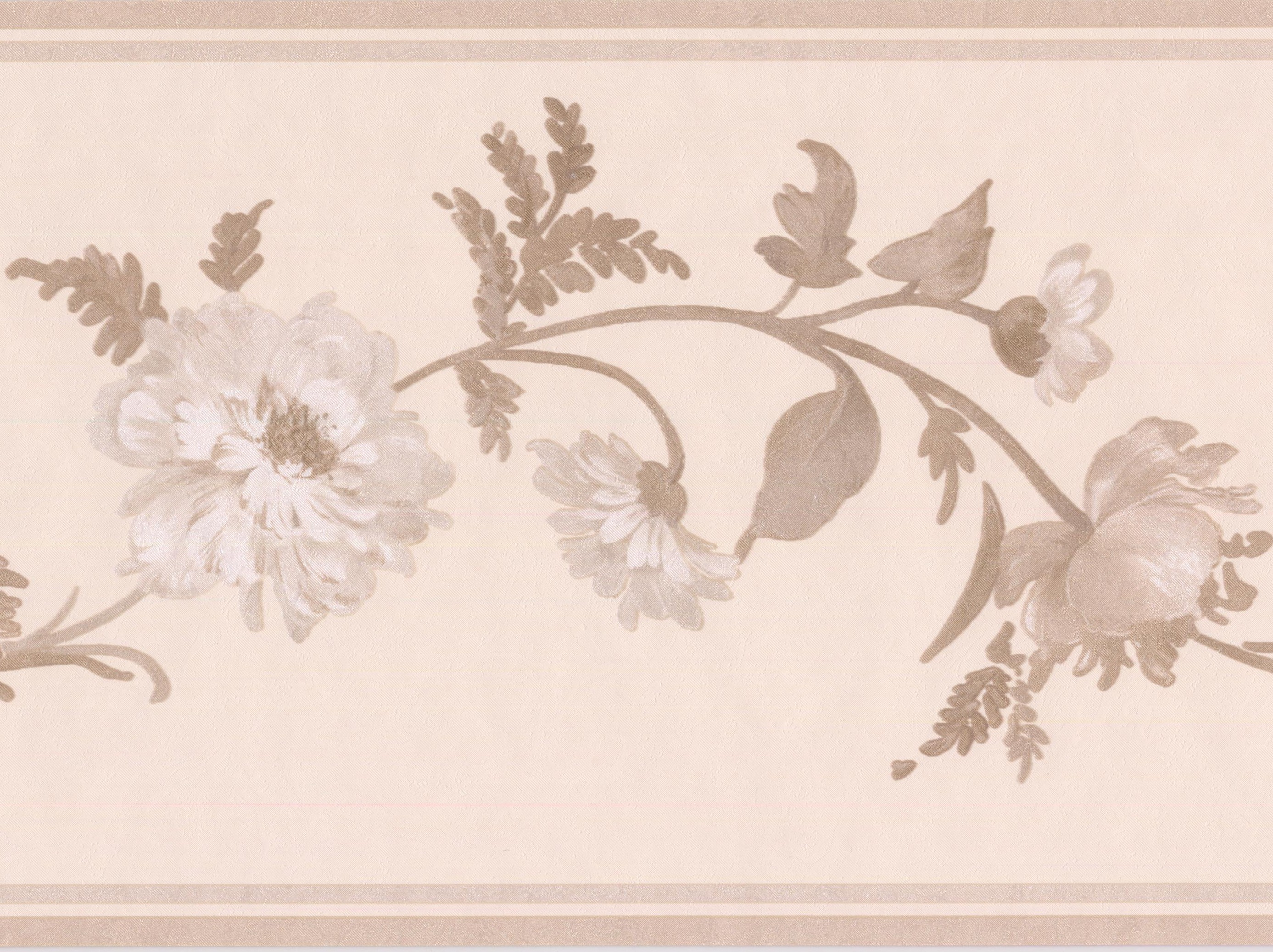 White flowers on grey vine ivory floral wallpaper border retro qty mightylinksfo