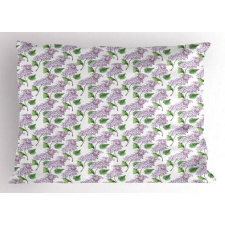 Lilac Pillow Sham Watercolor Hand Drawn Style Aromatic Herbal Growth Countryside Cottage Theme Art, Decorative Standard Size Printed Pillowcase, 26 X 20 Inches, Lilac and Green, by Ambesonne