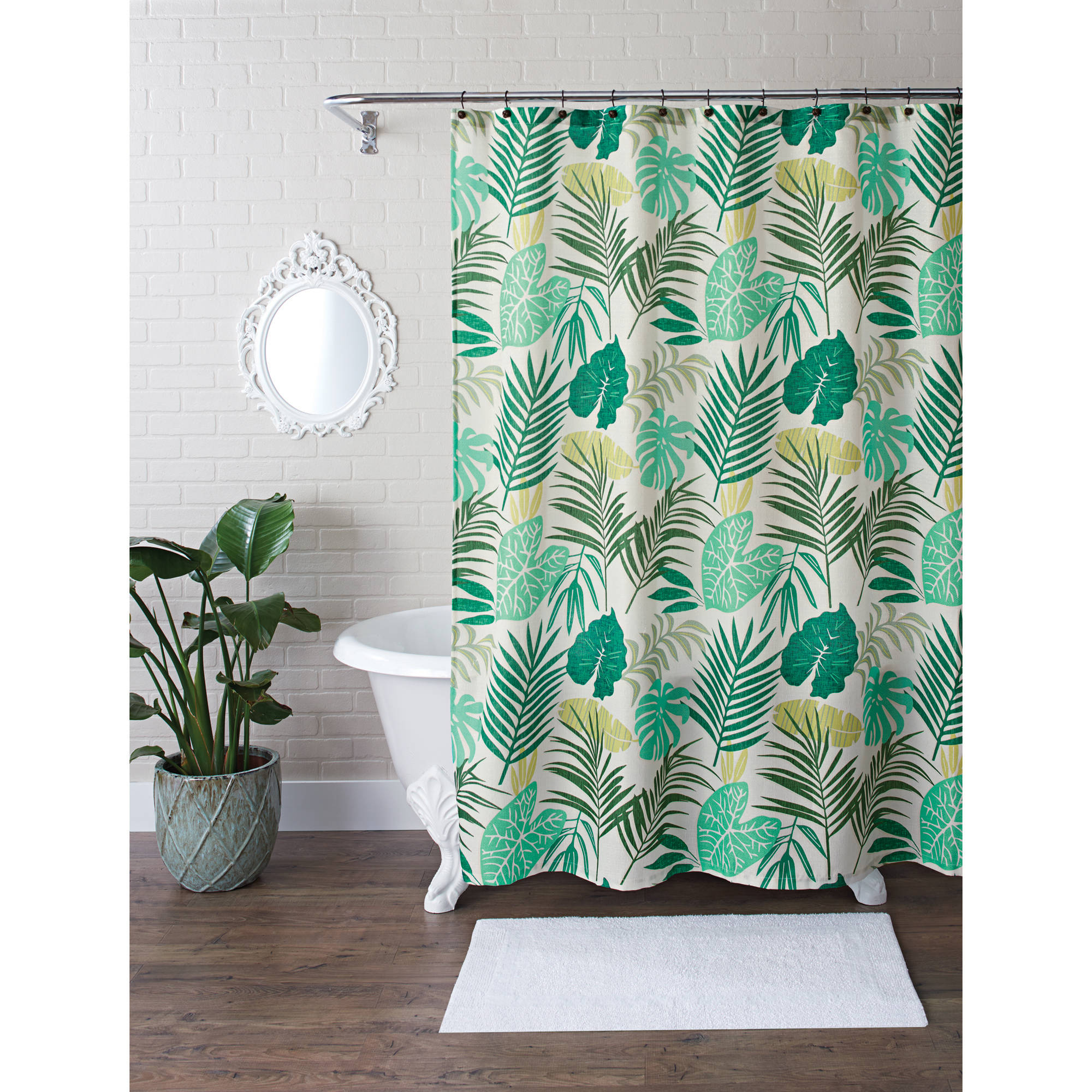 Better Homes and Gardens Tropical Palm Fabric 13-Piece Shower Curtain Set