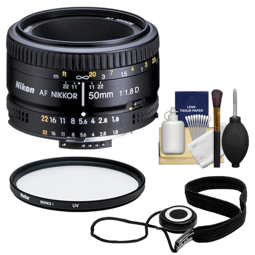 Nikon 50mm F/1.8D AF Nikkor Lens + UV Filter + Accessory Kit for D3200, D3300, D5300, D5500, D7100, D7200, D750, D810 Cameras