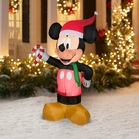 gemmy inflateables holiday 35309 air blown disney mickey with candy cane decor. Black Bedroom Furniture Sets. Home Design Ideas