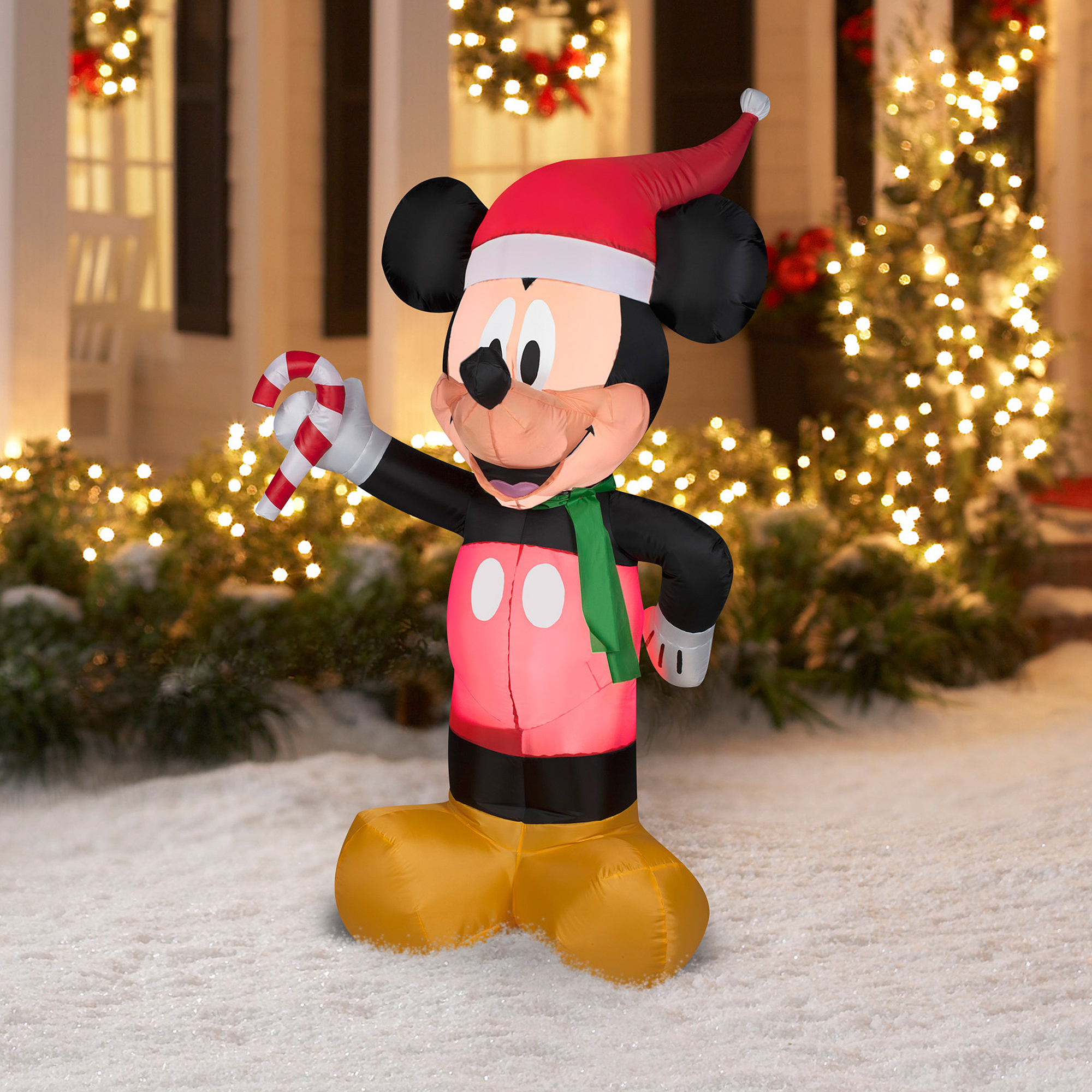 Gemmy Inflateables Holiday 35309 Air Blown Disney Mickey with Candy Cane Decor