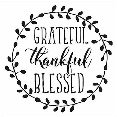 Grateful, Thankful, Blessed - Word Art Stencil - 16