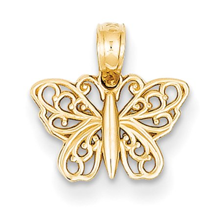 14k Yellow Gold Filigree Butterfly Charm