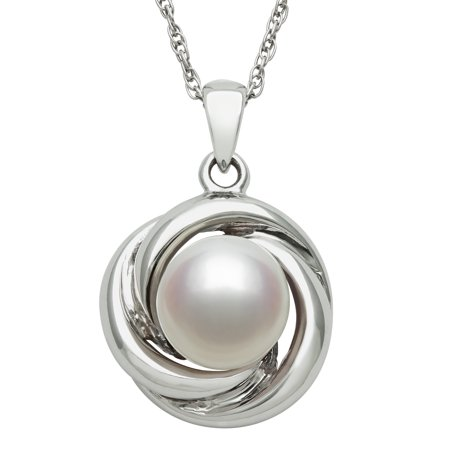 Cultured Freshwater Pearl and Sterling Silver Love Knot Pendant, 18