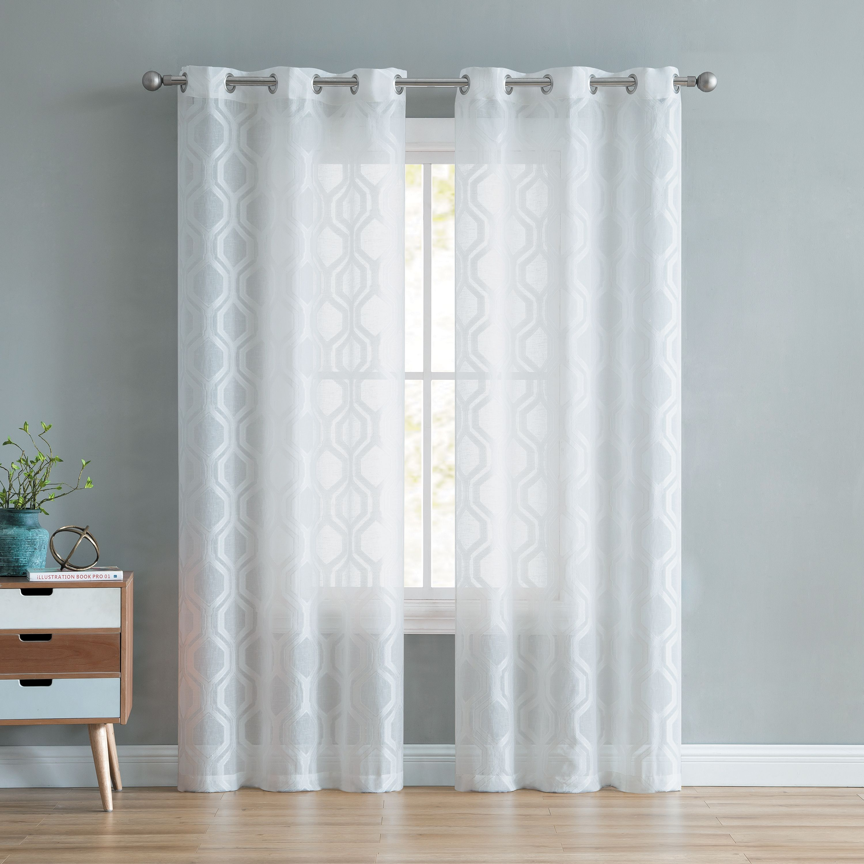 Better Homes and Gardens Ogee Clip Jacquard Window Curtain Panel - Set of 2