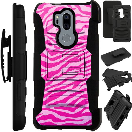 For LG G7 ThinQ | G7 One | G7 Fit Case Armor Hybrid Silicone Cover Stand LuxGuard Holster (Light Pink Zebra Skin) - Laser Silicone Skin Zebra