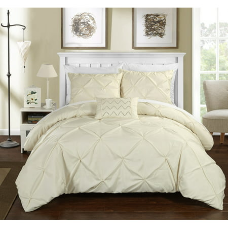 Chic Home 4-Piece Whitley Pinch Pleated Duvet Cover (Beige Duvet Set)