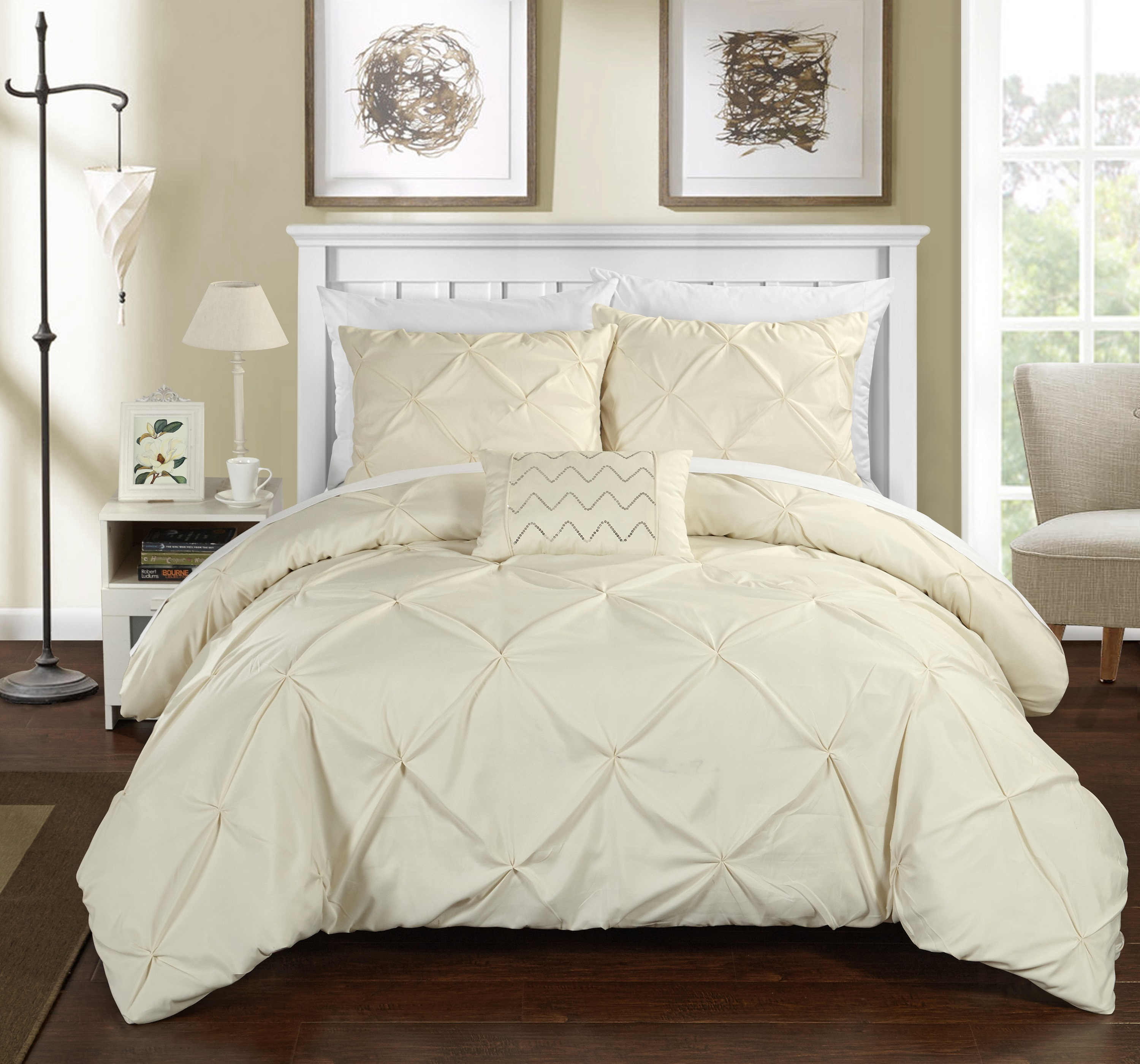 Chic Home 8-Piece Whitley Pinch Pleated Bed in a Bag Duvet Set