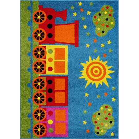 """Ladole Rugs Train and Sky Theme Cartoon Style Polypropylene Kids Area Rug Carpet in Blue and Mutlicolor, 4x6 (3'11"""" x 5'3"""", 120cm x 160cm) - image 6 of 6"""