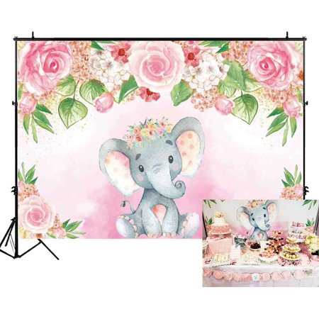 Cake Table Banner (High Supply 7x5ft Pink Floral Elephant Party Backdrop Flowers Girl Baby Shower Birthday Photography Background Photobooth Banner Cake Table Decorations A-Elephant 7'x5' Econ Vinyl)