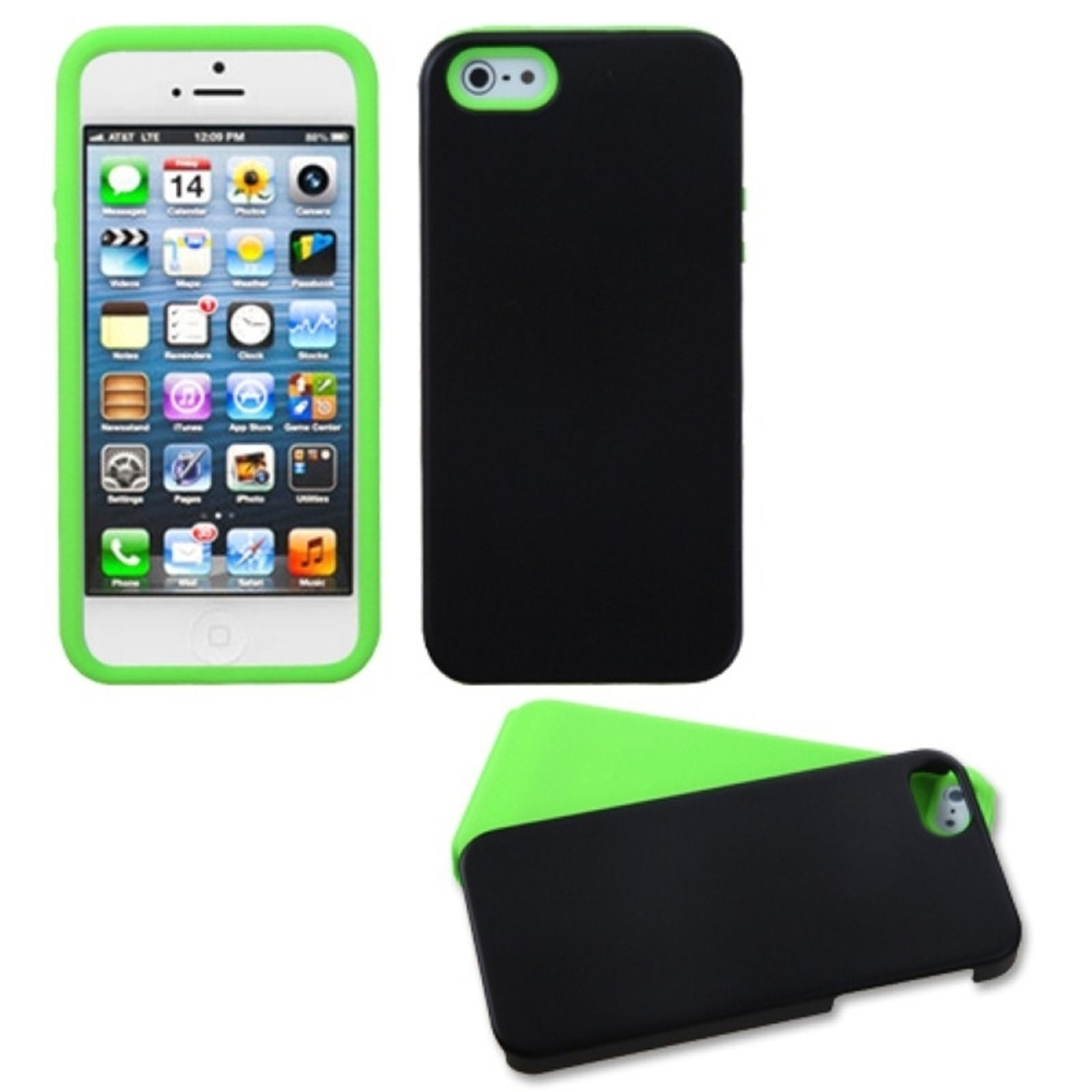 Insten Electric Green Inverse Fusion Case For iPhone SE 5S 5