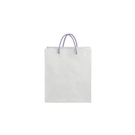 "GHP 100-Pcs 8.25""x4.75""x10.5"" White Kraft Folded Top Paper Bags w Purple Rope Handles"
