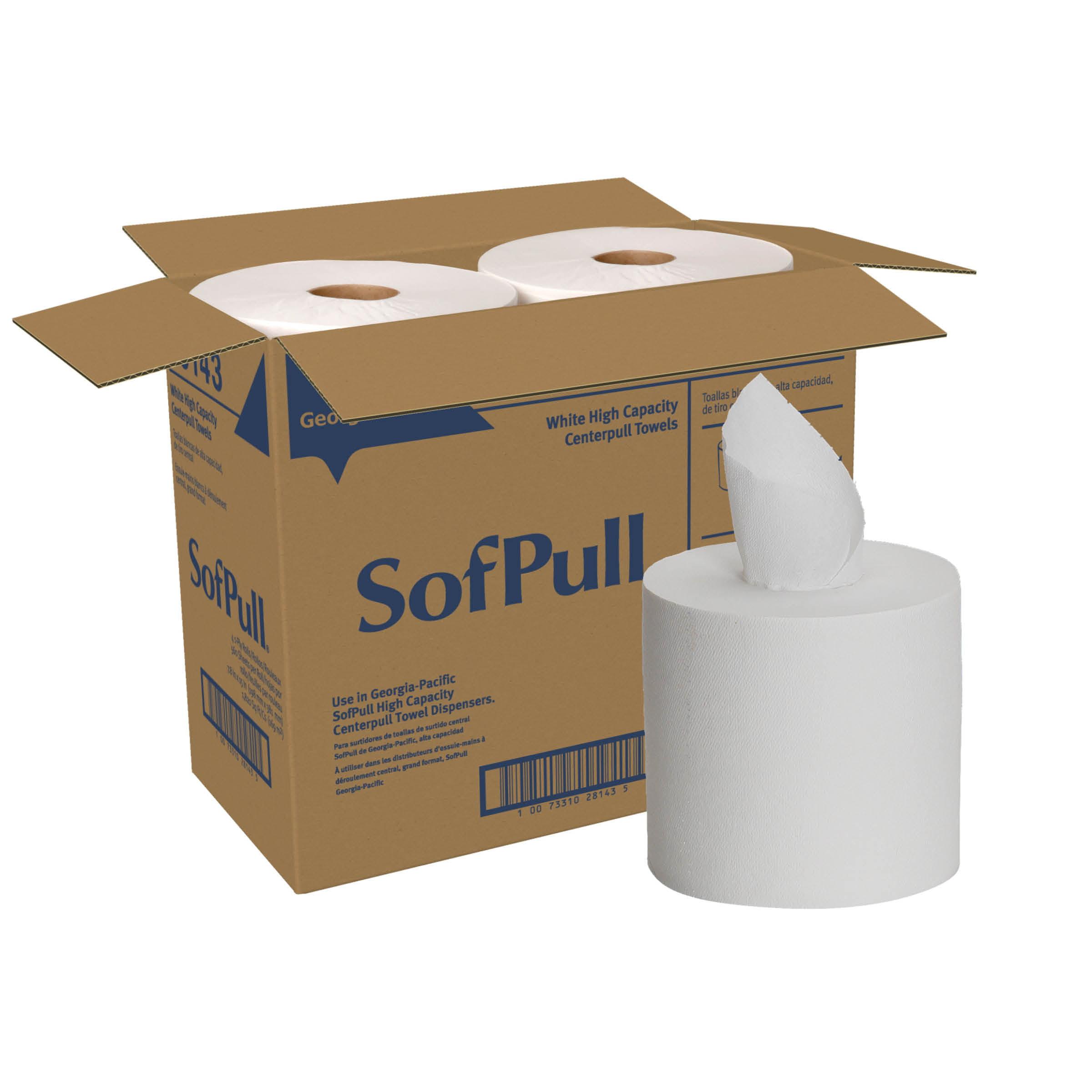 SofPull® (28143) Centerpull High Capacity Paper Towel by GP PRO (Georgia-Pacific), White, 560 Sheets Per Roll, 4 Rolls Per Case
