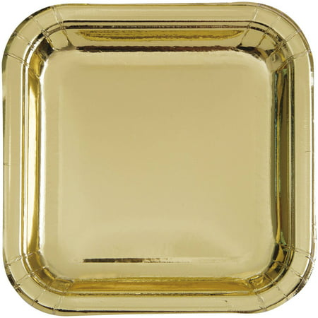 Square Paper Plates, 7 in, Gold Foil, 8ct - Paper Square Plates