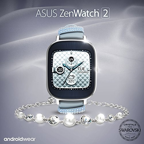 Asus ZenWatch 2 Smart Watch - Silver/Crystal
