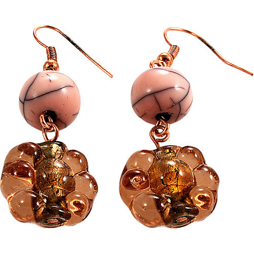 Alexa Starr Flower Shaped Glass Bead Drop Earrings With Pink Lucite Accent Beads