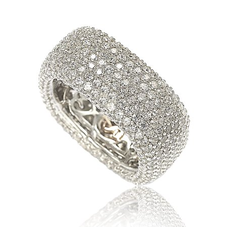 Sterling Silver Cubic Zirconia Square Pave Eternity