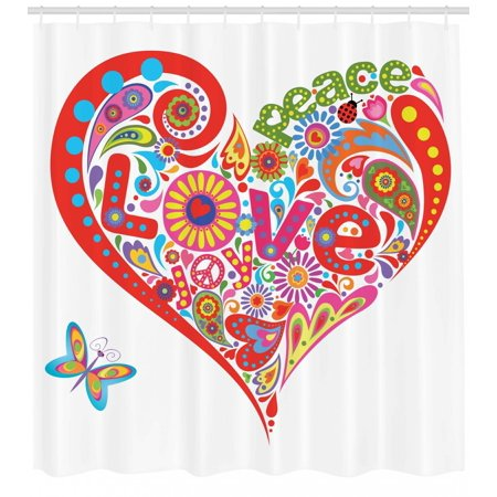 Groovy Shower Curtain Hippie Heart Shape With Colorful Flowers Butterfly Springtime Happy Days Design Fabric Bathroom Set With Hooks Multicolor By
