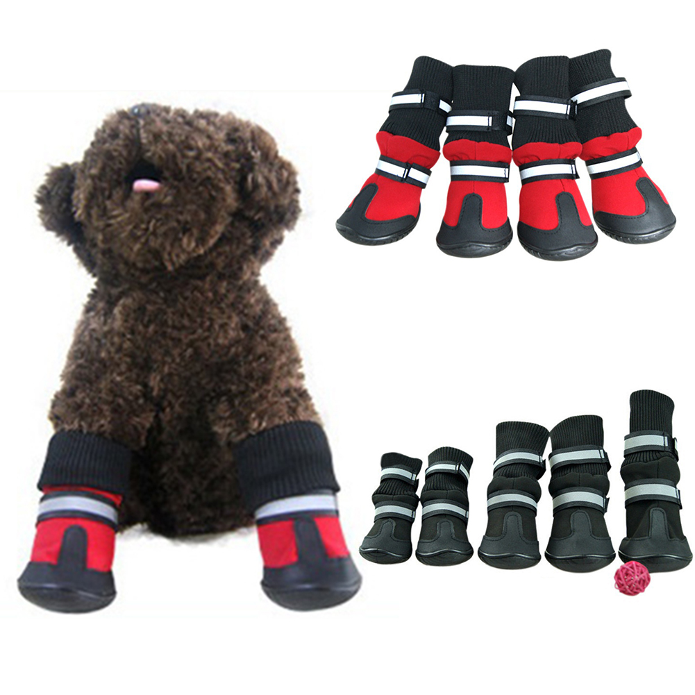 Girl12Queen 4Pcs Small Large Pet Puppy Dog Waterproof Shoes Socks Anti-skid Rain Boots