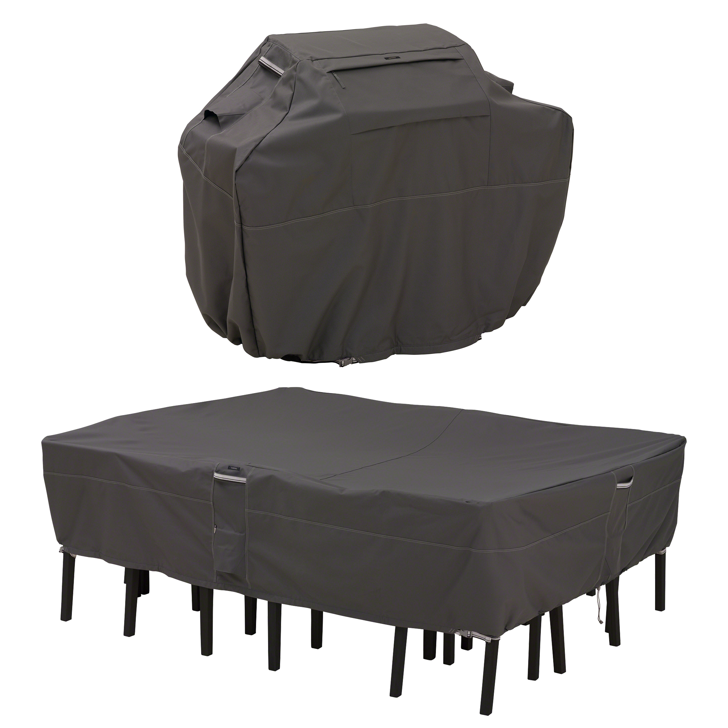 Classic Accessories Ravenna® Medium Grill Cover and Large Rectangular/Oval Patio Table & Chair Set Cover Bundle - Premium Outdoor Covers with Durable Water Resistant Fabric (55-927-035103-EC)