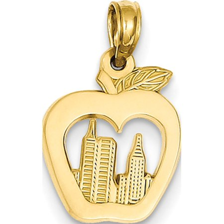 Leslies Fine Jewelry Designer 14k Yellow Gold New York Skyline in Apple (12x19mm) Pendant Gift