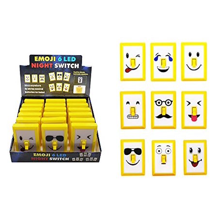Diamond Visions 08-1807 LED Emoji Face Portable Light Switch in Assorted Designs (1 Emoji Light)