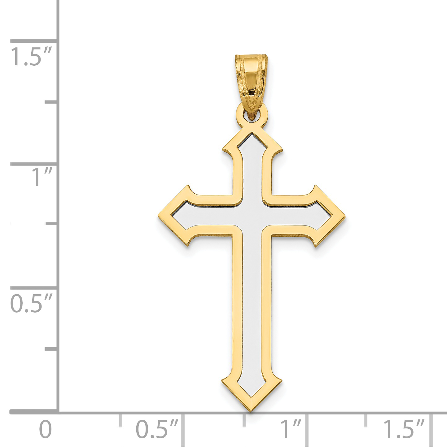14k Yellow and White Gold Two-tone Passion Cross Pendant Length 36mm - image 1 de 2