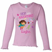 Personalized Dora the Explorer Hop Into Adventure Toddler Girl's Pink Long Sleeve Ruffle Tee