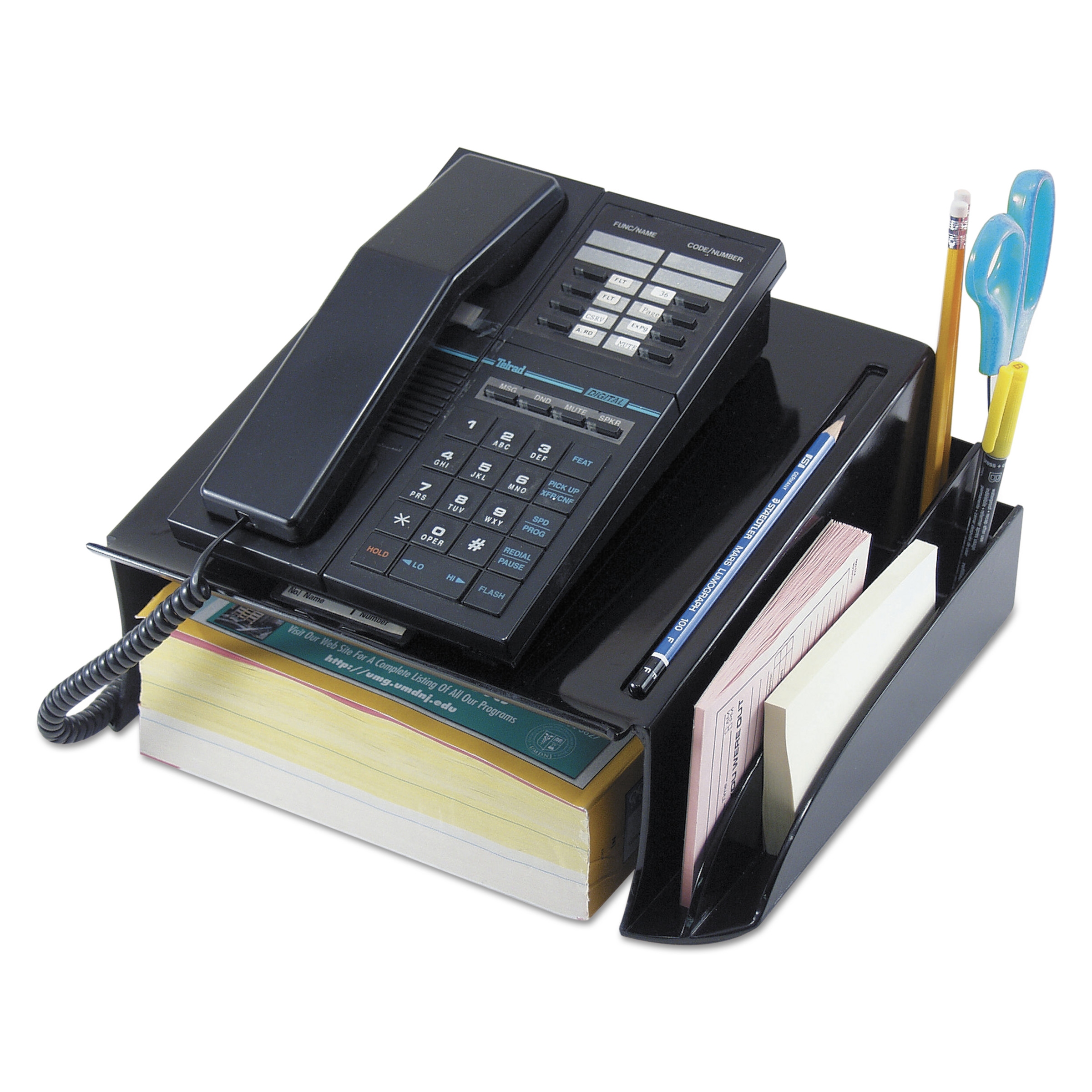 Universal Telephone Stand and Message Center, 12 1/4 x 10 1/2 x 5 1/4, Black -UNV08116