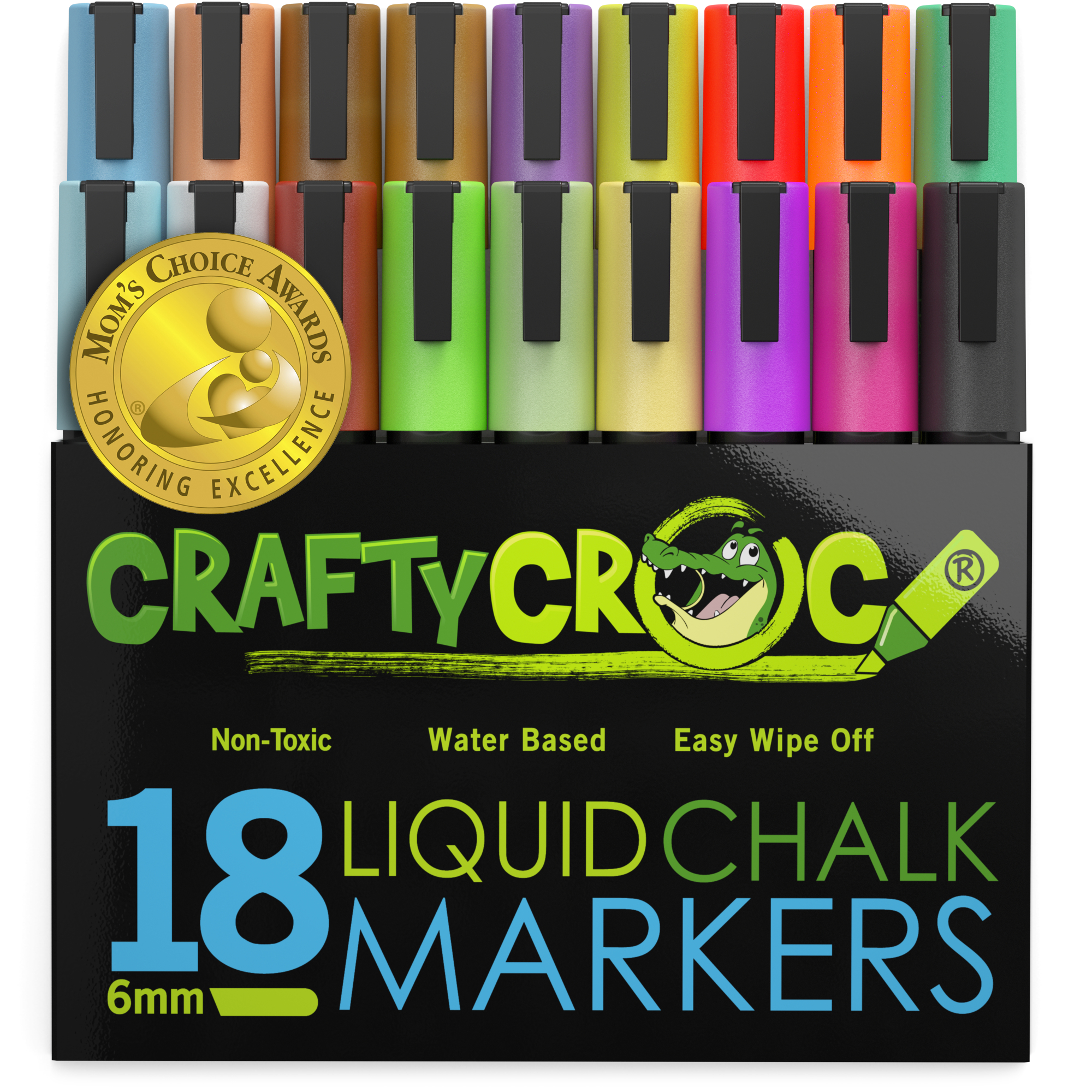 Crafty Croc Liquid Chalk Markers, Bright Neon and Earth Tone Colors, 18 Jumbo Pack
