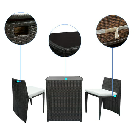 Clearance! 3PCS Wicker Patio Furniture, Durable Patio Conversation Sets, Stable Rattan Sofa Set with 2 Bar Chairs, 2 Removable Cushions and a Rattan Bar Table for Backyard Outdoor Porch Lawn , Q0407 ()