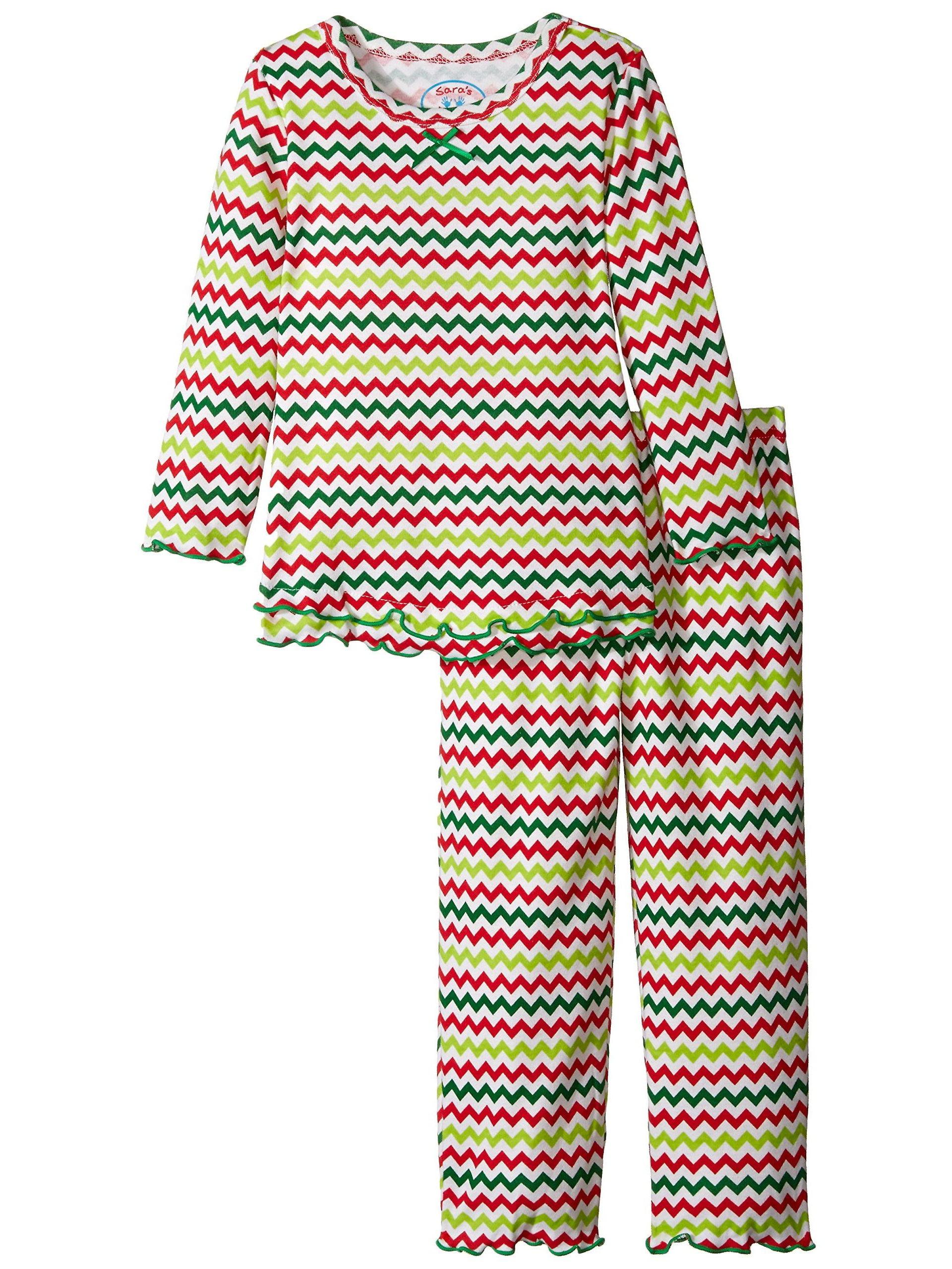 Saras Prints Girls Pink Ruffle Top /& Pant Pajama Set Kids Size 14