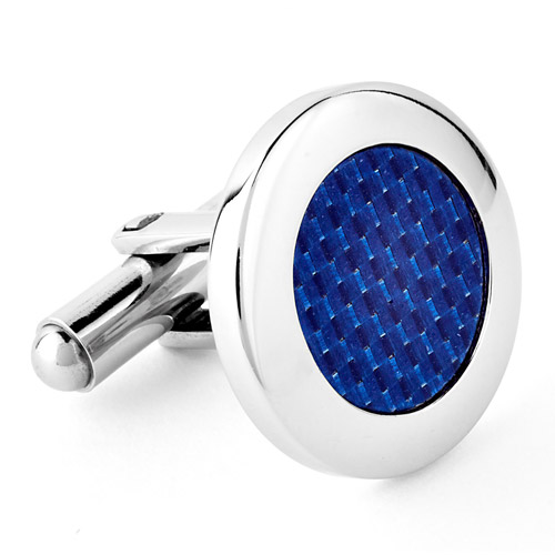 Crucible Stainless Steel and Blue Carbon Fiber Cufflinks