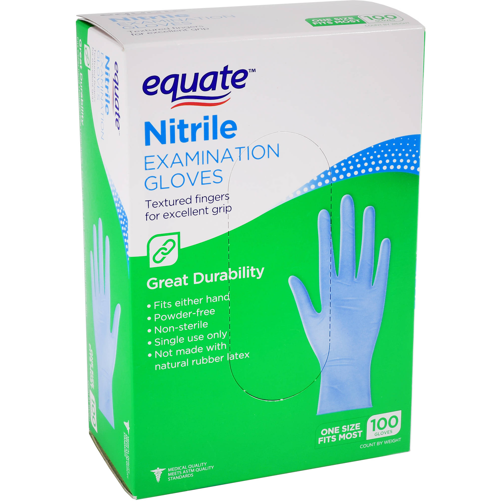 Equate Nitrile Examination Gloves, One Size, 100 Ct by Wal-Mart Stores, Inc.