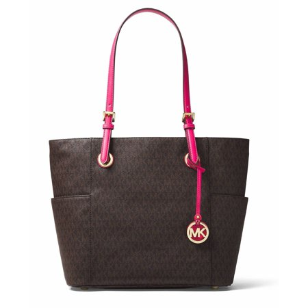 Michael Michael Kors Jet Set MK Logo East West Brown Ultra Pink Signature Tote 191935072214 East West Lined Tote