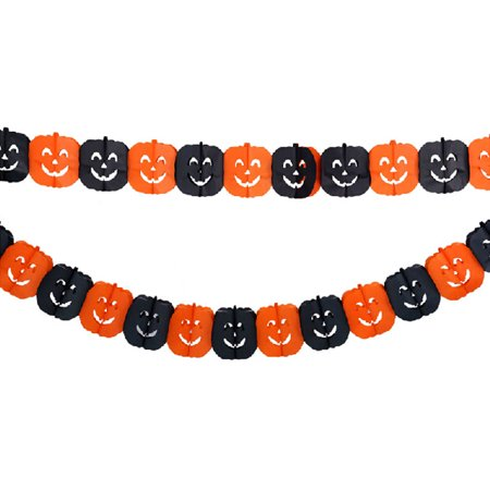 Halloween Paper Garland Spider & Pumpkin Hanging Decoration Scary