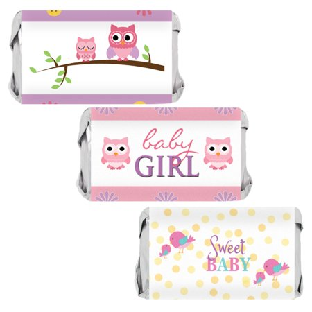 Sweet Baby Girl Owl and Tweet Baby Shower Party Favor Stickers for Hershey's Miniatures Bars (Set of 54) (Baby Girl Owl)
