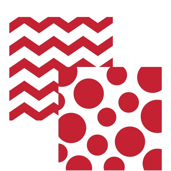 Red and White Chevrons and Dots Printed Beverage Napkins (16 ct)