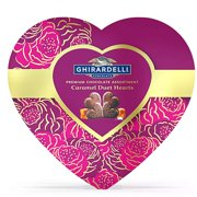 Ghirardelli Chocolate Caramel Duet Hearts, Valentine's Day Heart Box Gift, 4.2 Ounces