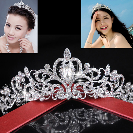 Stunning Bridal Princess Crystal Hair Tiara Wedding Crown Prom Veil - Princess Themed Wedding