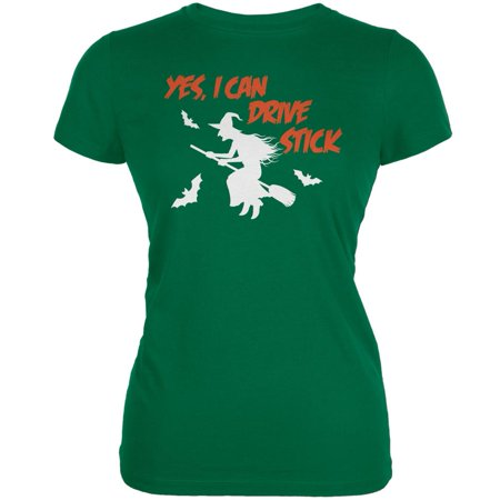 Halloween Witch I Can Drive Stick Kelly Green Juniors Soft T-Shirt - Halloween Kelly Death