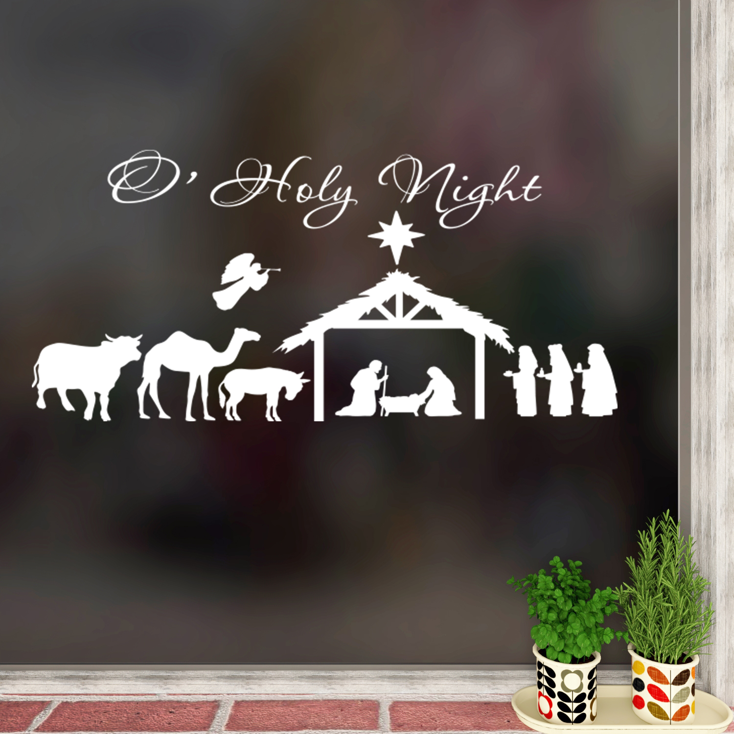 O' Holy Night Decal Nativity Scene Wall Decal Quote
