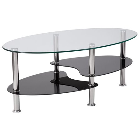 Flash Furniture Hampden Glass Coffee Table with Black Glass Shelves and Stainless Steel