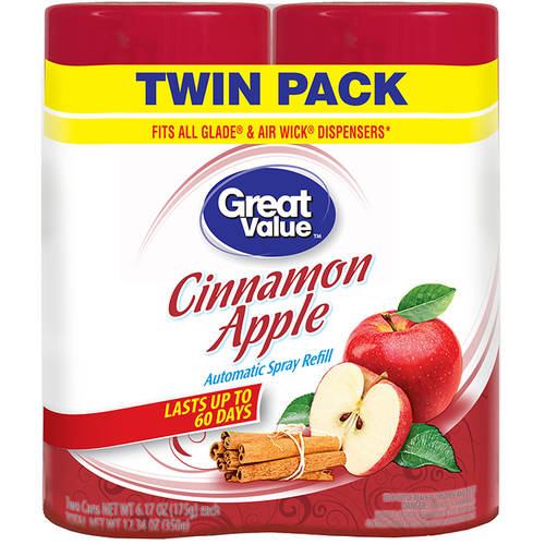 Great Value Cinnamon Apple Automatic Spray Air Freshener Refill, 6.17 oz, (Pack of 2)